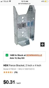 New Box of 100 galvanized fence brackets for 2x4 or 2x6