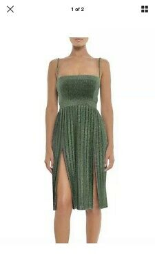 NEW Misha Collection Janelle Midi Dress Green Silver Size 4 AU 0 US RRP $380 ()
