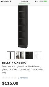 IKEA Billy Storage unit with leaf etched glass door