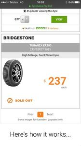 4 x Bridgestone 235/55R17 103V tyres and rims Sydenham Marrickville Area Preview