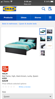 Ikea Malm bedframs, Black/Brown colour