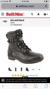 UGG black leather military style boots Kesey