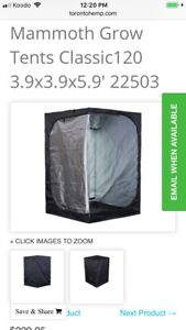 2 Cannabis Grow tents, Mammoth Pro120 (3.9x3.9x6.6 ft)