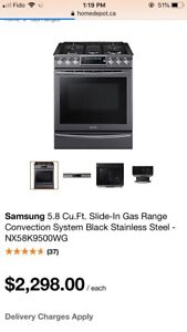 SAMSUNG 5.8 Cu.Ft. Slide-In gas stove