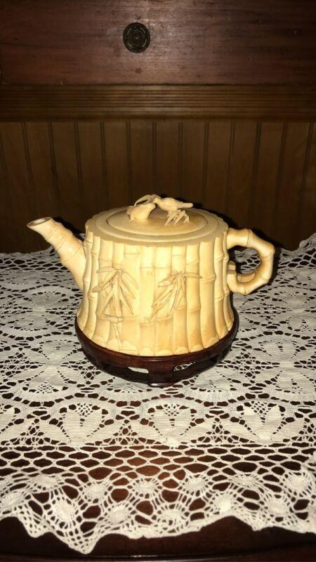 Antique Chinese Tea Pot Imported BONE