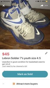 b12d07b691f94 Lebron Soldier 7 s youth size 4.5
