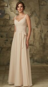 New Luxe Chiffon V Neck/V Back Morilee Gown in Champagne