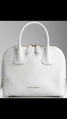 NEW Burberry London Grainy Leather Small Greenwood Bowling White (Greenwood Bowling)