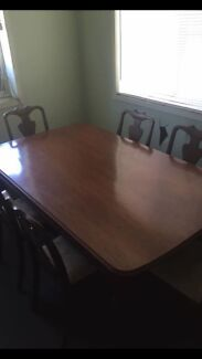 Antique cedar dining table + 6 chairs