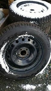 Winter tires with steel rims, 18 inch