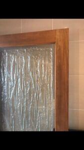 Interior wooden door with unique glass