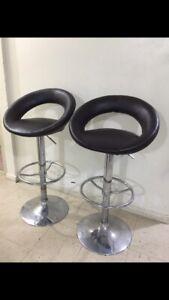 2 Like New leather adjustable bar stools