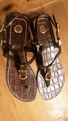 Tory Burch Brown Patent Leather T Strap Sandals Flip Flops Sz 9 Patent Leather T-strap Sandals