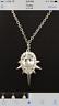 nOir Jewelry Drop Pendant Mini Punk Necklace SILVER Cubic Zirconia Spike Rhodium