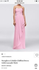 Strapless crinkle chiffon bridesmaid dress in tinkled pink
