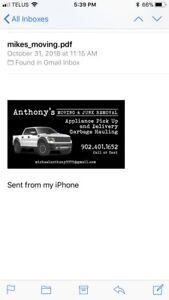 Anthony Moving CHEAPEST PRICES In NOVA SCOTIA text 902-401-1652