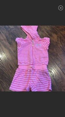 NWT Juicy Couture Pink Striped Terry Cloth Hoodie Outfit Romper-18-24 Month $75