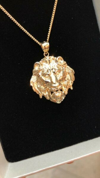 9crt solid gold lion pendant and gold chain mens jewellery 1 of 3 aloadofball Choice Image