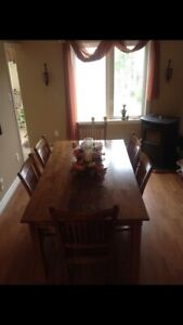 Dining room table & 6 chairs with cabinet