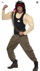 Halloween 1980's Rambo Costume Wig,Bullet Belt & Dog Tags Medium Fancy Dress