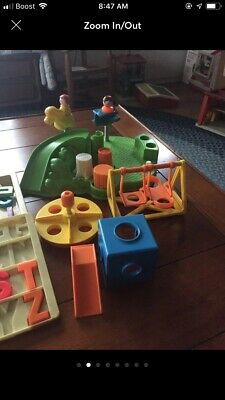 VINTAGE FISHER PRICE school house and playground little people