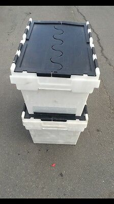 6 X Heavy Duty Plastic Moving Storage Totes / Crates / Boxes Folding Lids
