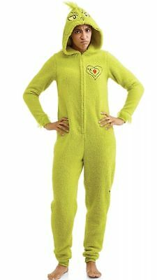 Grinch Womens Licensed Sleepwear Adult Costume Union Suit Pajama Green Grinch 2X - Grinch Suit