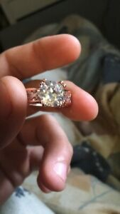 Women Luxuxy Color 24k Rose Gold Diamond Engagement Floral Ring