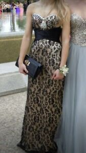 Grad Dress Size 4 Gold and Black Lace