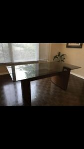 Teak and glass dinning room table