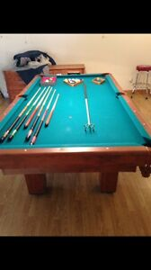 Pool table and light fixture