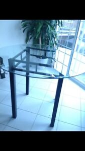 Glass Counter Top Dining Table