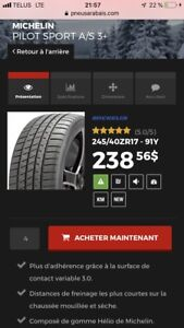 4 Michelin PILOT SPORT A/S 3+ ( presque neuf )