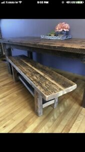 Beautiful farmhouse dining table and bench