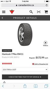 Winter tires 225/70/16 with jeep rims