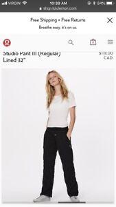 Lulu lemon studio lined pants size 4