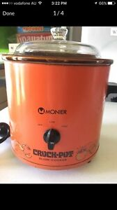 Vintage/retro Orange Monier crock pot slow cooker Tumbulgum Tweed Heads Area Preview