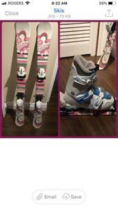 Girls ski boots and skis