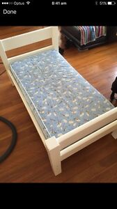 Solid white timber toddler bed with mattress Geebung Brisbane North East Preview