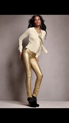 Metallic Gold High Rise Skinny Jeans Xs