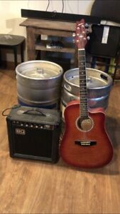 Acoustic/electric guitar with small amp..