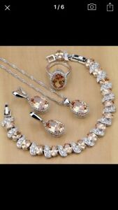 Natural Zarcon, 925 silver bridal jewelry sets