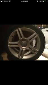 Snow tires plus rims - TIRES BARELY USED