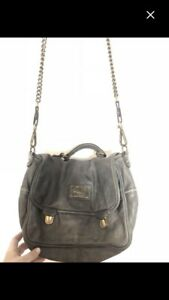 Brand new women's grey leather roots purse