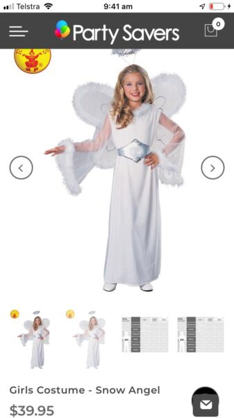 Rubie S Costume S Girls Snow Angel Costume Size 8 10 2 Available