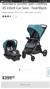 Evenflo Lux24 travel system with EXTRA base and car seat