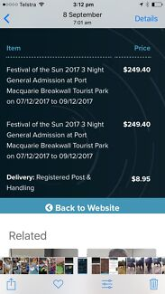 Festival of the Sun tickets x 2 - 3 day pass (Port Macquarie) NSW