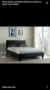 Leather bed frame & side tables - Queen size Melbourne CBD Melbourne City Preview