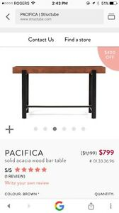 Structube Pacifica Bar Table and 4 stools