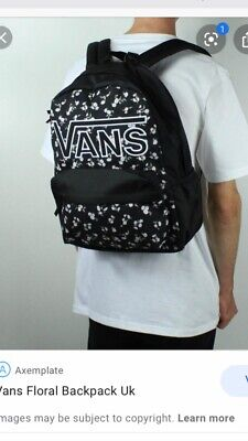 VANS REALM Backpack Black With Flowers Print Nice Condition Bag